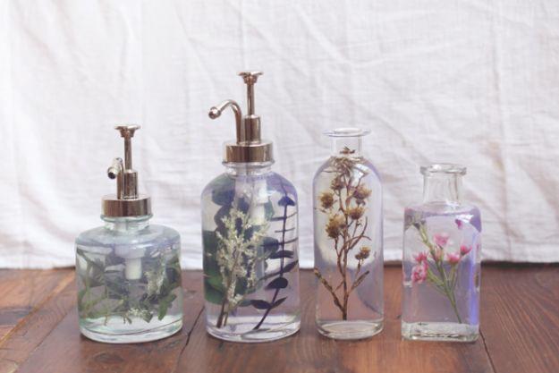 DIY Soap Dispensers - Flower Bottle Soap Dispenser - Easy Soap Dispenser Ideas to Make for Kitchen, Bathroom - Mason Jar Idea, Cute Crafts to Make and Sell, Kids Bath Decor