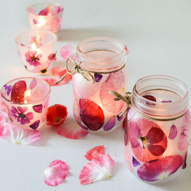 Fun DIY Ideas for Adults - Flower Petal Candle Holders - Easy Crafts and Gift Ideas , Cool Projects That Are Fun to Make - Crafts Idea for Men and Women