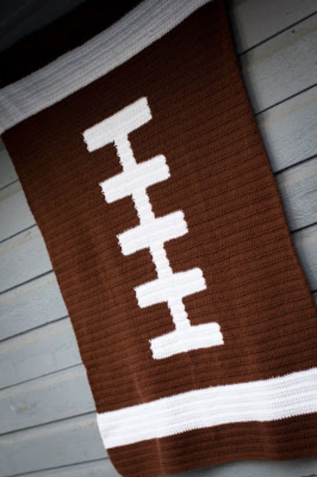 DIY Gifts for Him - Football Blanket Crochet - Homemade Gift Ideas for Guys - DYI Christmas Gift for Dad, Boyfriend, Husband Brother - Easy and Cheap Handmade Presents Birthday https://diyjoy.com/diy-gifts-for-him