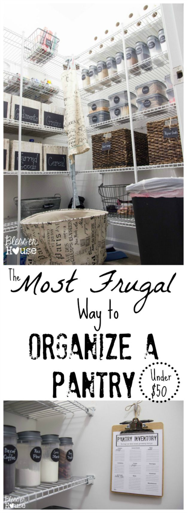 DIY Pantry Organizing Ideas - Frugal Way to Organize a Pantry - Easy Organization for the Kitchen Pantry - Cheap Shelving and Storage Jars, Labels, Containers, Baskets to Organize Cans and Food, Spices