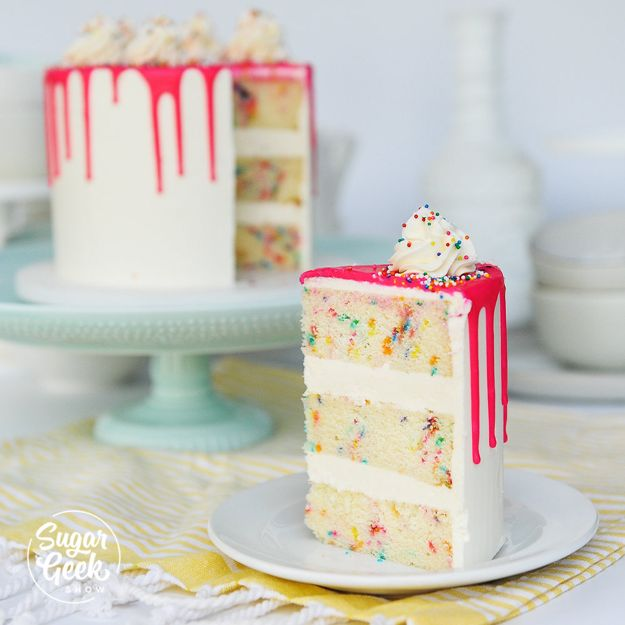 Baby Shower Cakes DIY - Funfetti Cake From Scratch - Easy Cake Recipes and Cupcakes to Make For Babies Showers - Ideas for Boys and Girls, Neutral, for Twins
