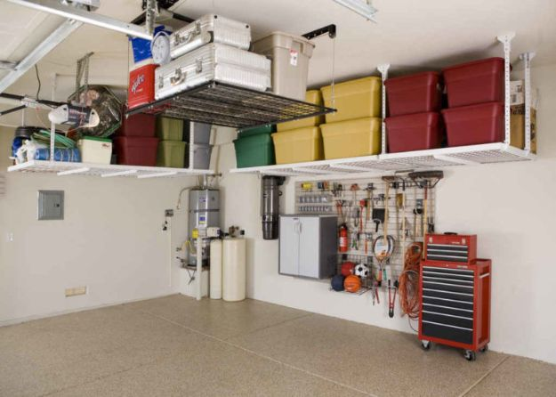 DIY Garage Organization Ideas - Garage Overhead Storage Systems - Ideas for Storage, Storing Tools, Small Spaces, DYI Shelves, Organizing Hacks