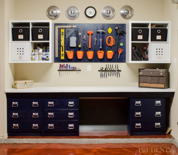 DIY Garage Organization Ideas - Garage Workbench DIY - Ideas for Storage, Storing Tools, Small Spaces, DYI Shelves, Organizing Hacks