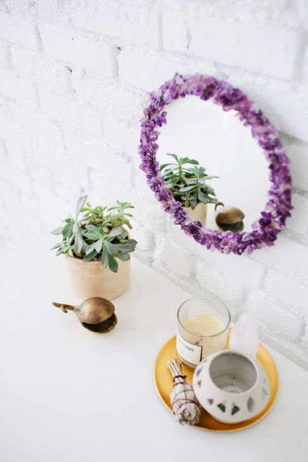DIY Bedroom Decor Ideas for Teens and Girls - Gem Stone Mirror - Inexpensive Wall Art Ideas Mirrors -Easy Room Decor Projects for The Home - Cheap Dollar Store Crafts, Wall Art Idea, Bed and Bedding, Furniture