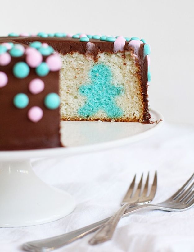 Baby Shower Cakes DIY - Gender Reveal Surprise Inside Cake - Easy Cake Recipes and Cupcakes to Make For Babies Showers - Ideas for Boys and Girls, Neutral, for Twins