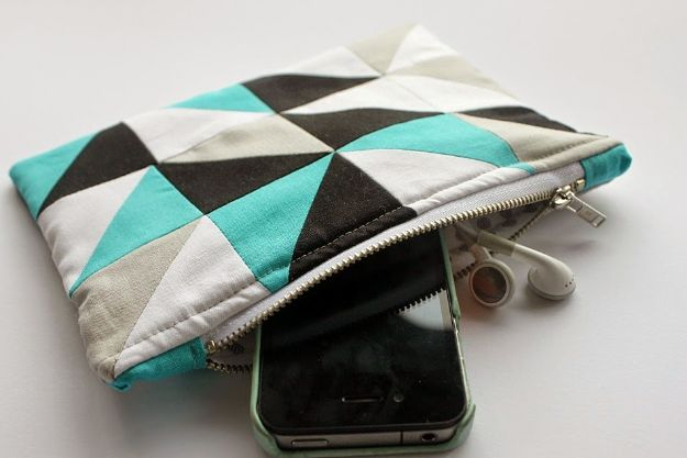 Sewing Projects to Make and Sell - Geometric Zipper Pouch - Easy Things to Sew and Sell on Etsy and Online Shops - DIY Sewing Crafts With Free Pattern and Tutorial