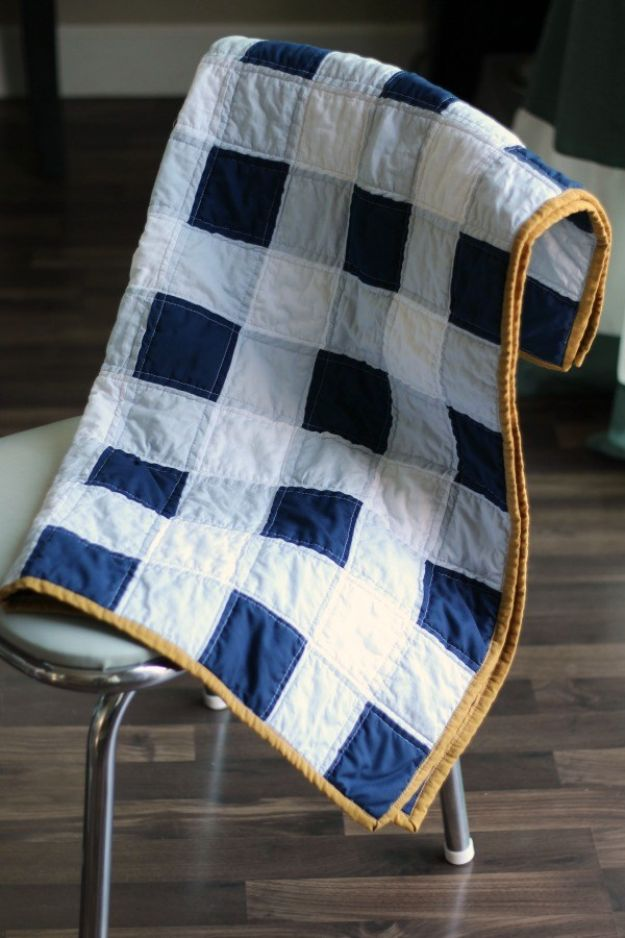 Easy Quilt Ideas for Beginners - Gingham Baby Quilt - Free Quilt Patterns and Simple Projects With Fat Quarters - How to Make Baby Blankets, Table Runners, Jelly Rolls