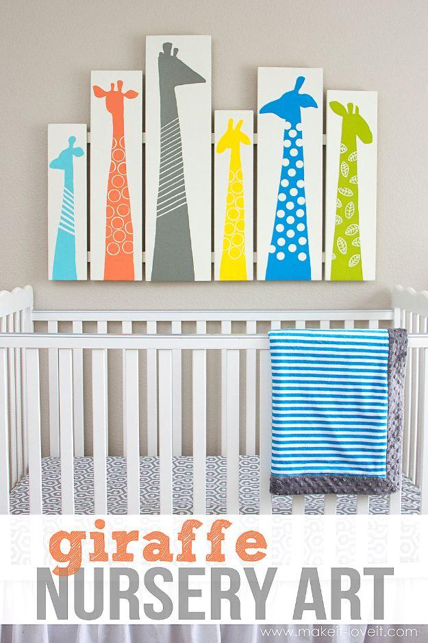 DIY Nursery Decor Ideas for Boys - Giraffe Nursery Art - Cute Blue Room Decorations for Baby Boy- Crib Bedding, Changing Table, Organization Idea, Furniture and Easy Wall Art
