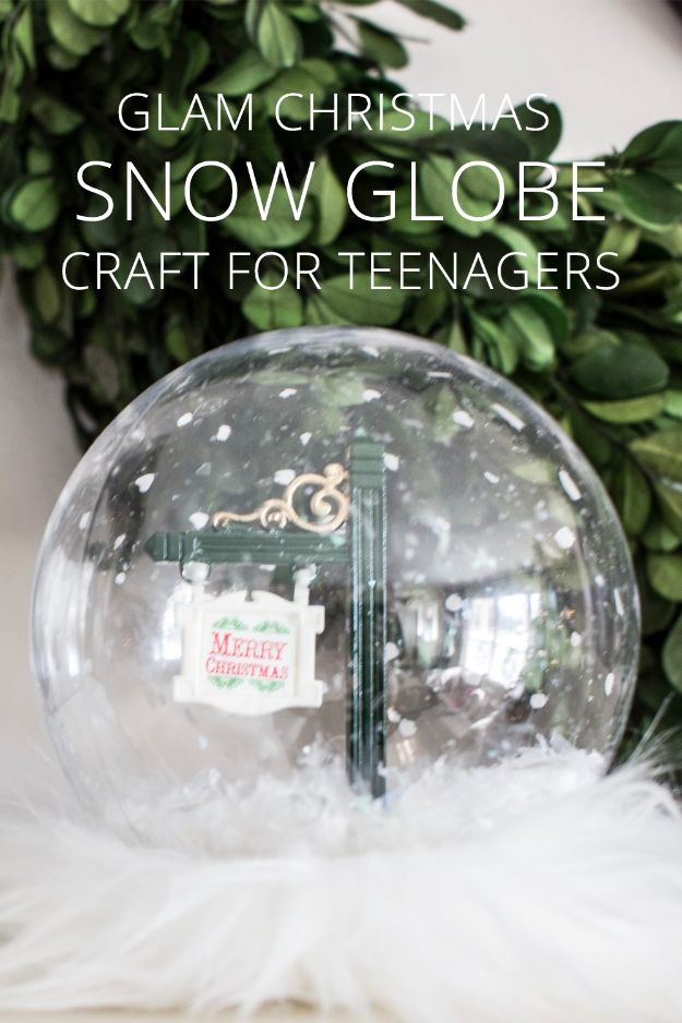 DIY Snow Globe Ideas - Glam Christmas Snow Globe Craft for Teenagers - Easy Ideas To Make Snow Globes With Kids - Mason Jar, Picture, Ornament, Waterless Christmas Crafts - Cheap DYI Holiday Gift Ideas