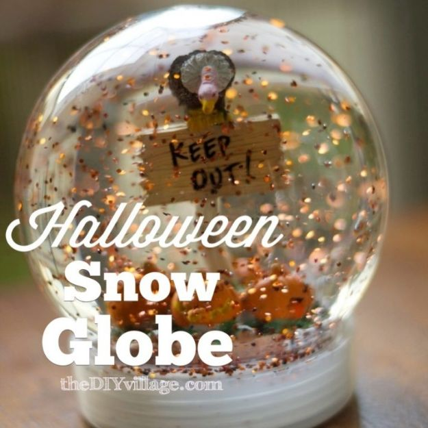 DIY Snow Globe Ideas - Halloween Snow Globe - Easy Ideas To Make Snow Globes With Kids - Mason Jar, Picture, Ornament, Waterless Christmas Crafts - Cheap DYI Holiday Gift Ideas