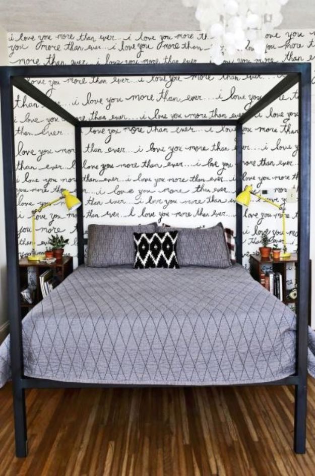 DIY Bedroom Decor Ideas - Handwriting Statement Wall - Easy Room Decor Projects for The Home - Cheap Farmhouse Crafts, Wall Art Idea, Bed and Bedding, Furniture