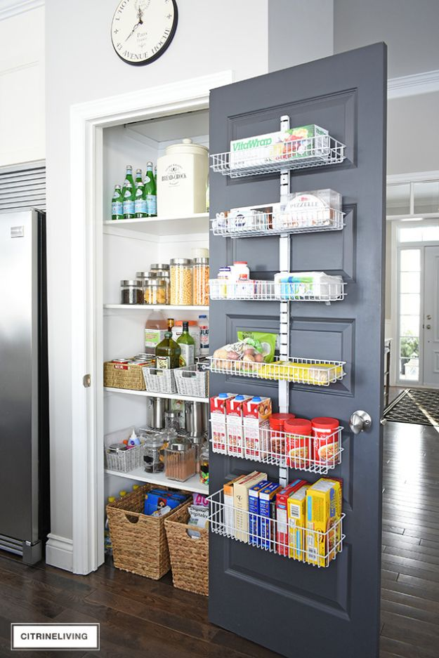 DIY Pantry Organizing Ideas - Have A Rack Installed In Your Pantry Door - Easy Organization for the Kitchen Pantry - Cheap Shelving and Storage Jars, Labels, Containers, Baskets to Organize Cans and Food, Spices