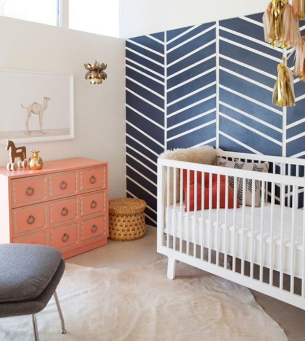 DIY Nursery Decor Ideas for Boys - Herringbone Accent Wall - Cute Blue Room Decorations for Baby Boy- Crib Bedding, Changing Table, Organization Idea, Furniture and Easy Wall Art