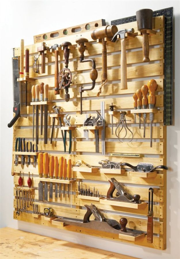 DIY Garage Organization Ideas - Hold-Everything Tool Rack - Cheap Ways to Organize Garages on A Budget - Ideas for Storage, Storing Tools, Small Spaces, DYI Shelves, Organizing Hacks