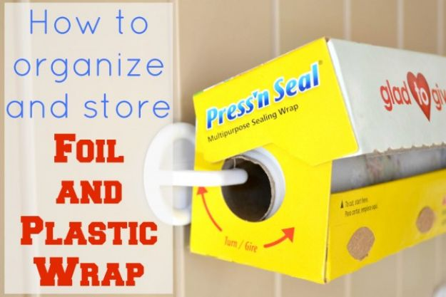 DIY Pantry Organizing Ideas - How to Store Foil and Plastic Wrap - Easy Organization for the Kitchen Pantry - Cheap Shelving and Storage Jars, Labels, Containers, Baskets to Organize Cans and Food, Spices