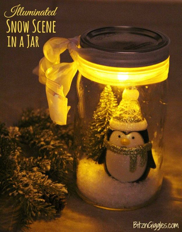 DIY Snow Globe Ideas - Illuminated Snow Scene in a Jar - Easy Ideas To Make Snow Globes With Kids - Mason Jar, Picture, Ornament, Waterless Christmas Crafts - Cheap DYI Holiday Gift Ideas