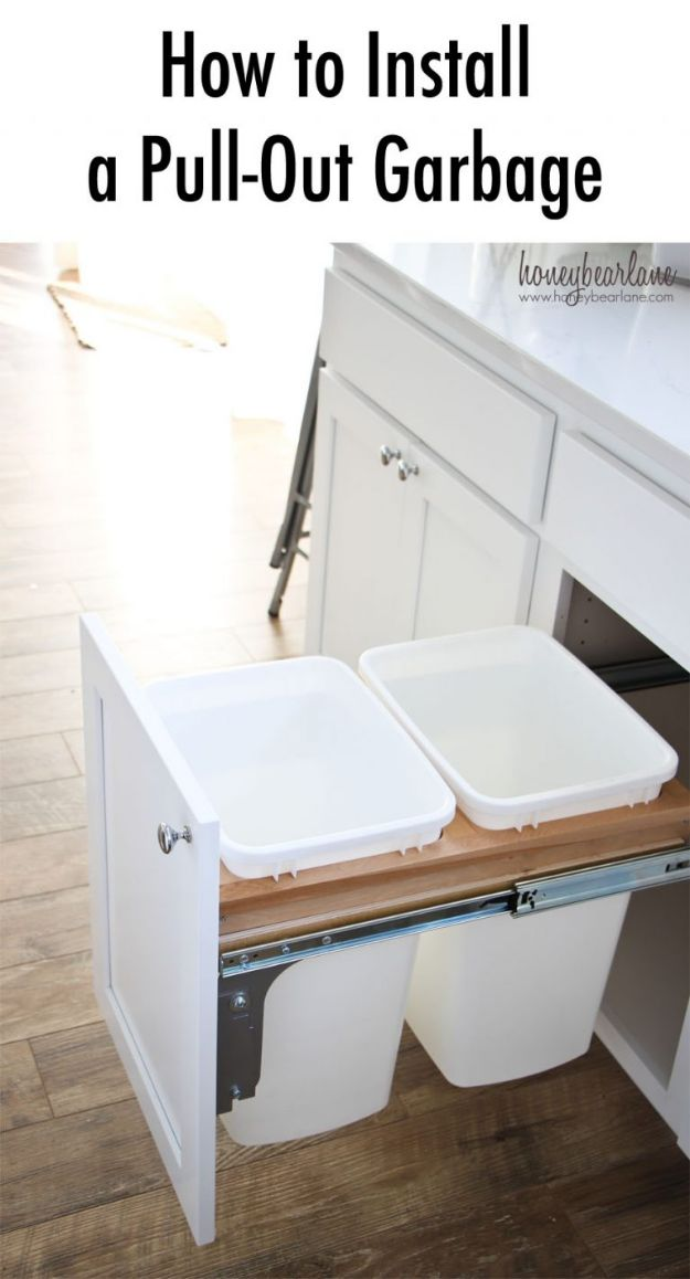 DIY Kitchen Cabinets - Install A Pull-Out Garbage - Makeover Ideas for Kitchen Cabinet - Build and Design Kitchen Cabinet Projects on A Budget - Cheap Reface Idea and Tutorial