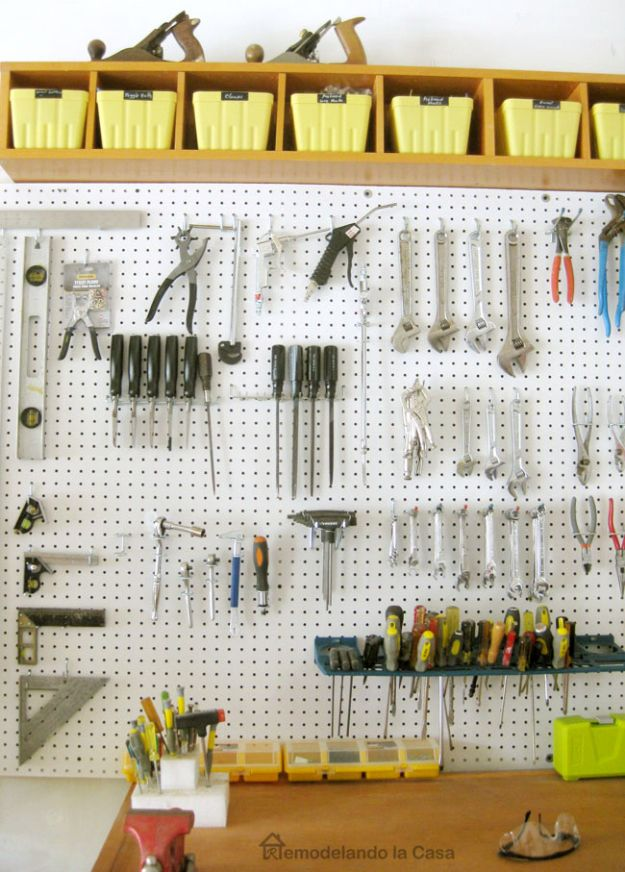 DIY Garage Organization Ideas - Install a Pegboard - Cheap Ways to Organize Garages on A Budget - Ideas for Storage, Storing Tools, Small Spaces, DYI Shelves, Organizing Hacks