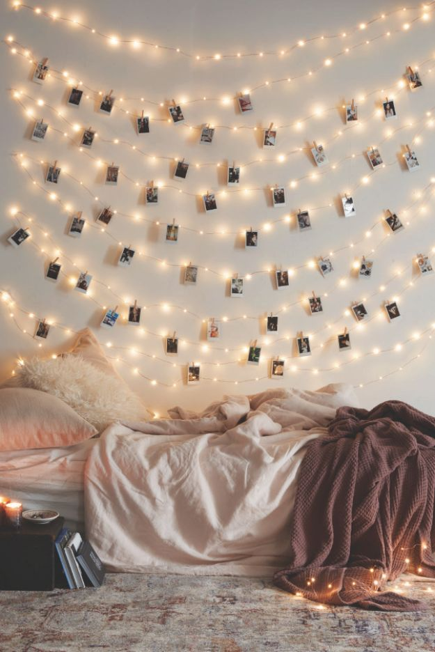DIY Bedroom Decor Ideas - Instax-inspired String Lights - Easy Room Decor Projects for The Home - Cheap Farmhouse Crafts, Wall Art Idea, Bed and Bedding, Furniture