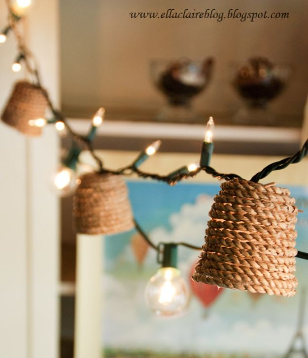 Easy Rustic DIY Bedroom Decor Ideas - Jute Twinkle Light Shade - Creative and Unique Room Decor Projects for The Home - Cheap Farmhouse Crafts, Wall Art Idea, Bed and Bedding, Furniture