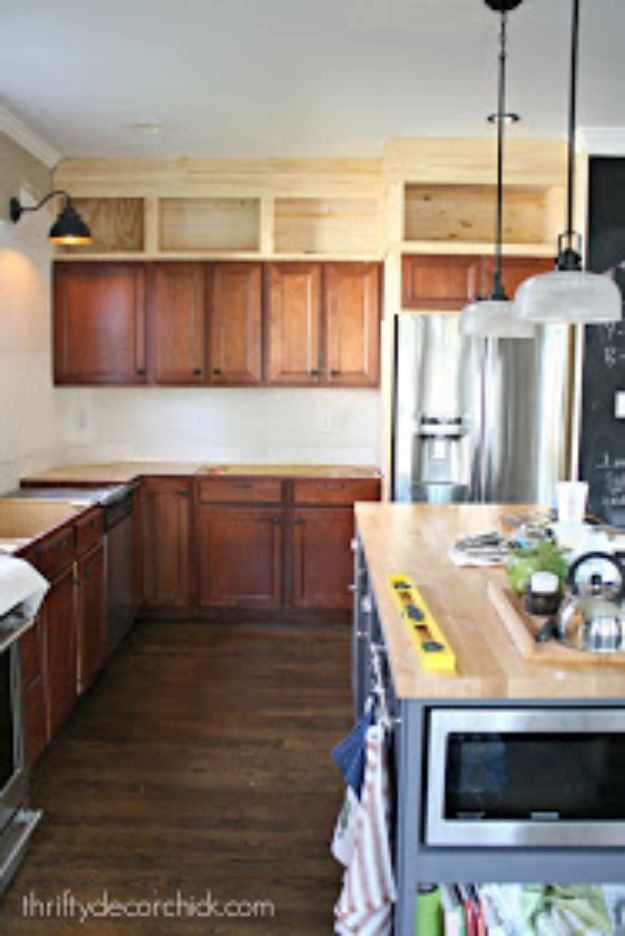 DIY Kitchen Cabinets - Kitchen Cabinets Up to the Ceiling - Makeover Ideas for Kitchen Cabinet - Build and Design Kitchen Cabinet Projects on A Budget - Cheap Reface Idea and Tutorial
