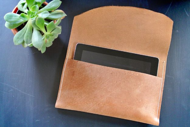 Sewing Projects to Make and Sell - Leather Tablet Case - Easy Things to Sew and Sell on Etsy and Online Shops - DIY Sewing Crafts With Free Pattern and Tutorial
