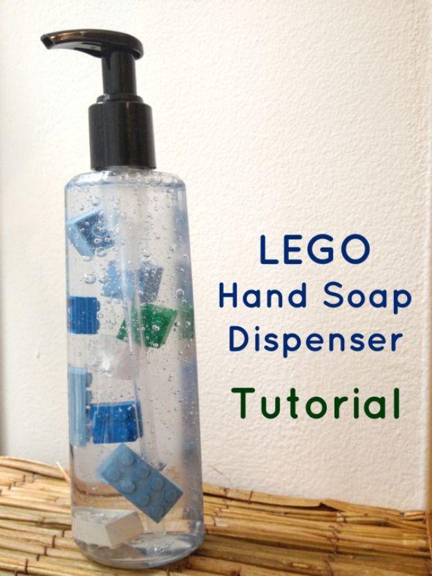 DIY Soap Dispensers - Lego Hand Soap Dispenser - Easy Soap Dispenser Ideas to Make for Kitchen, Bathroom - Mason Jar Idea, Cute Crafts to Make and Sell, Kids Bath Decor