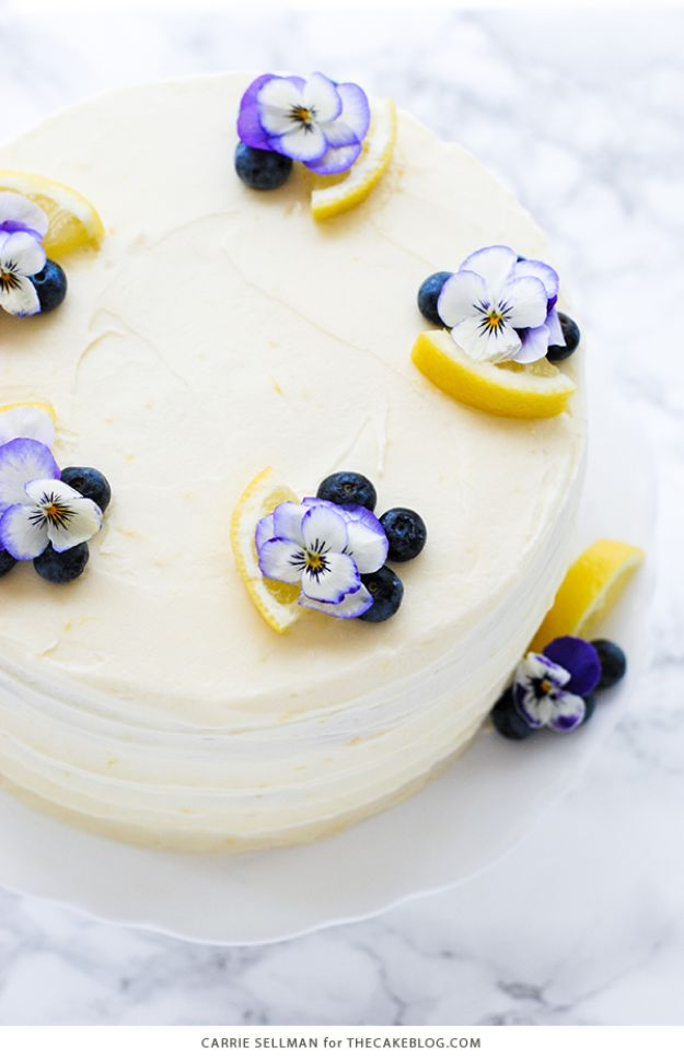 Baby Shower Cakes DIY - Lemon Blueberry Cake - Easy Cake Recipes and Cupcakes to Make For Babies Showers - Ideas for Boys and Girls, Neutral, for Twins