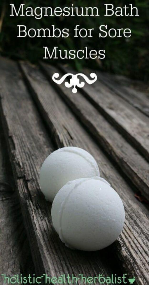 DIY Bath Bombs - Magnesium Bath Bombs for Sore Muscles - Easy DIY Bath Bomb Recipe Ideas - How to Make Bath Bombs at Home - Best Lush Copycats, Lavender, Glitter Homemade Bath Fizzies #bathbombs #diyideas