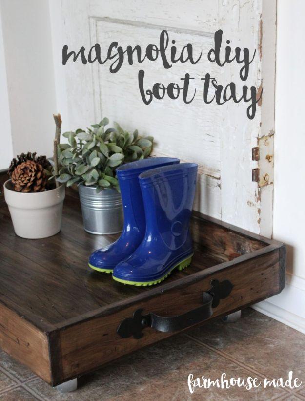 DIY Shoe Racks - Magnolia Boot Tray DIY - Easy DYI Shoe Rack Tutorial - Cheap Closet Organization Ideas for Shoes - Wood Racks, Cubbies and Shelves to Make for Shoes