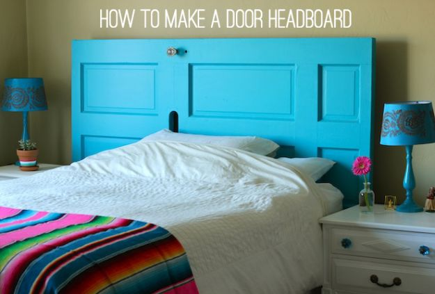 DIY Bedroom Decor Ideas - Make A Door Headboard - Easy Room Decor Projects for The Home - Cheap Farmhouse Crafts, Wall Art Idea, Bed and Bedding, Furniture