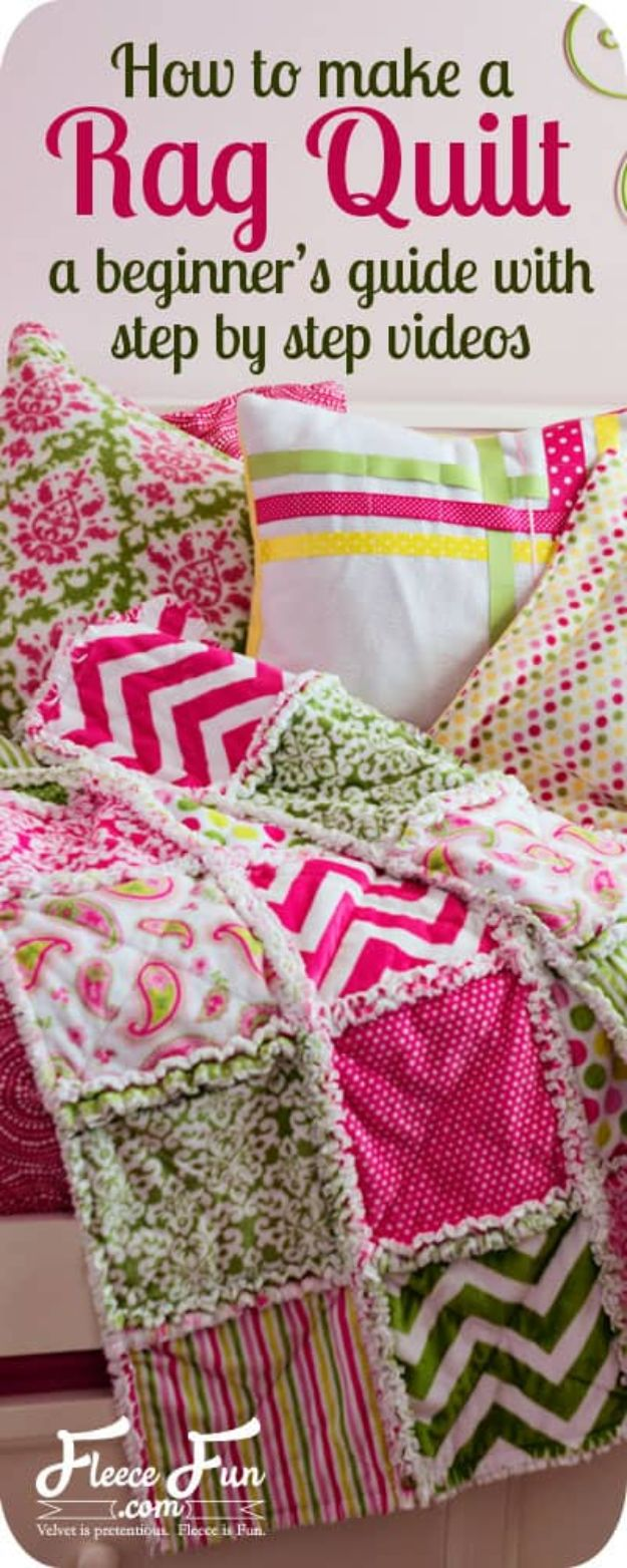 Easy Quilt Ideas for Beginners - Make A Rag Quilt - Free Quilt Patterns and Simple Projects With Fat Quarters - How to Make Baby Blankets, Table Runners, Jelly Rolls