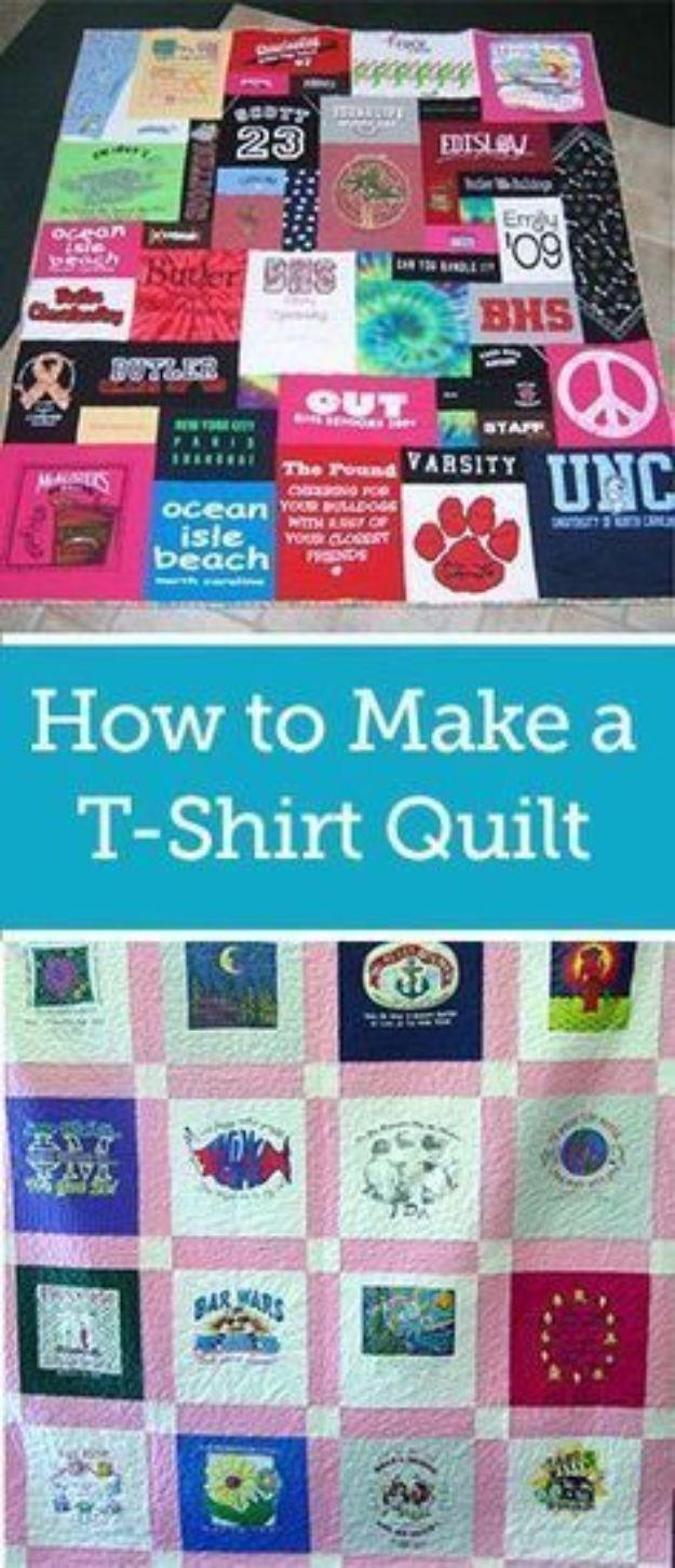 Easy Quilt Ideas for Beginners - Make A T-Shirt Quilt - Free Quilt Patterns and Simple Projects With Fat Quarters - How to Make Baby Blankets, Table Runners, Jelly Rolls