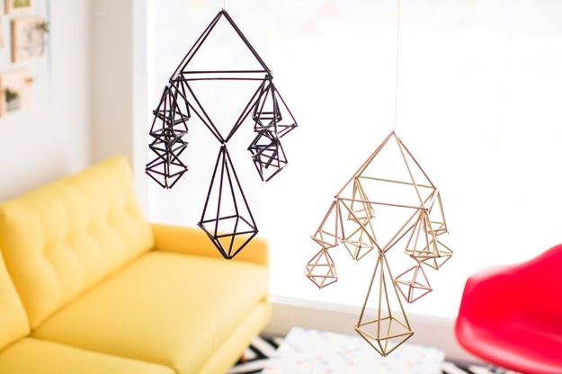 DIY Bedroom Decor Ideas - Make Modern Geometric Mobiles - Easy Room Decor Projects for The Home - Cheap Farmhouse Crafts, Wall Art Idea, Bed and Bedding, Furniture