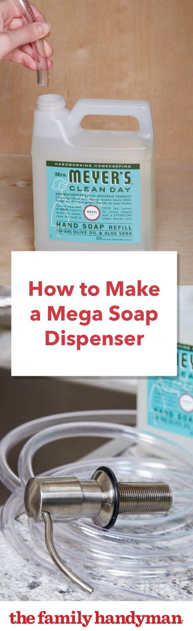 DIY Soap Dispensers - Make a Mega Soap Dispenser - Easy Soap Dispenser Ideas to Make for Kitchen, Bathroom - Mason Jar Idea, Cute Crafts to Make and Sell, Kids Bath Decor