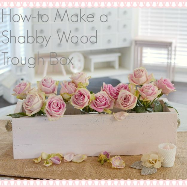DIY Bedroom Decor Ideas - Make a Shabby Wood Trough Box - Easy Room Decor Projects for The Home - Cheap Farmhouse Crafts, Wall Art Idea, Bed and Bedding, Furniture