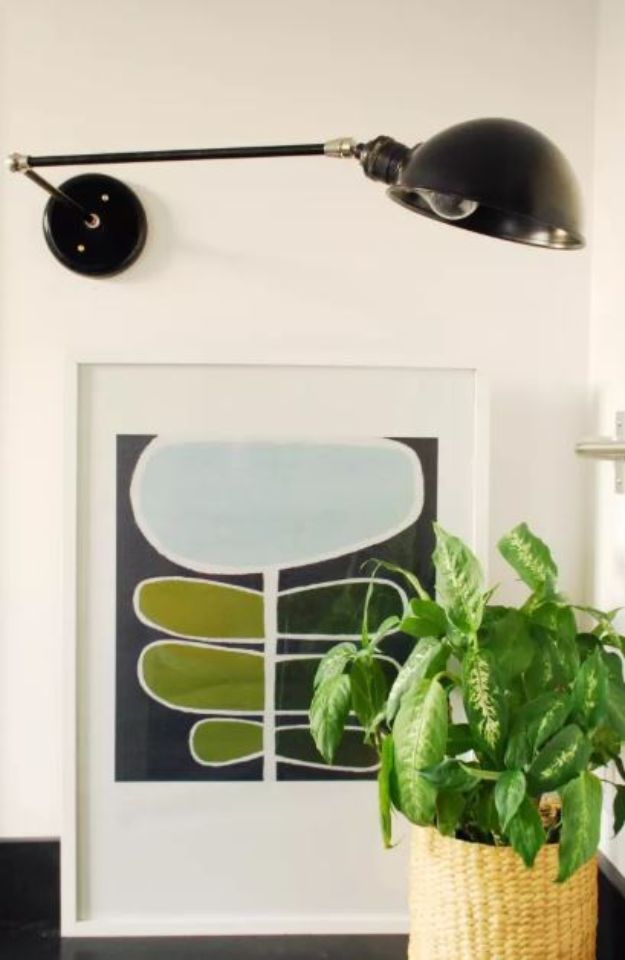 DIY Bedroom Decor Ideas - Make a Swing Arm Wall Sconce - Easy Room Decor Projects for The Home - Cheap Farmhouse Crafts, Wall Art Idea, Bed and Bedding, Furniture
