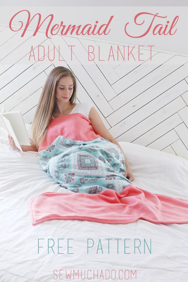 Sewing Projects to Make and Sell - Mermaid Tail Adult Blanket - Easy Things to Sew and Sell on Etsy and Online Shops - DIY Sewing Crafts With Free Pattern and Tutorial