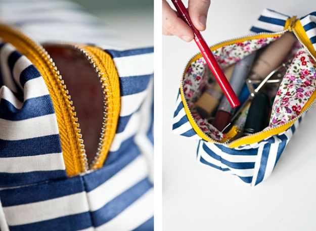 Sewing Ideas to Make and Sell - Mini Make-Up Bag - Easy Things to Sew and Sell on Etsy and Online Shops - DIY Sewing Crafts With Free Pattern and Tutorial