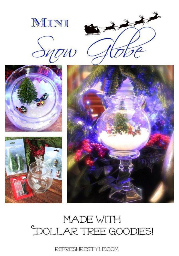 DIY Snow Globe Ideas - Mini Snow Globe – DIY - Easy Ideas To Make Snow Globes With Kids - Mason Jar, Picture, Ornament, Waterless Christmas Crafts - Cheap DYI Holiday Gift Ideas