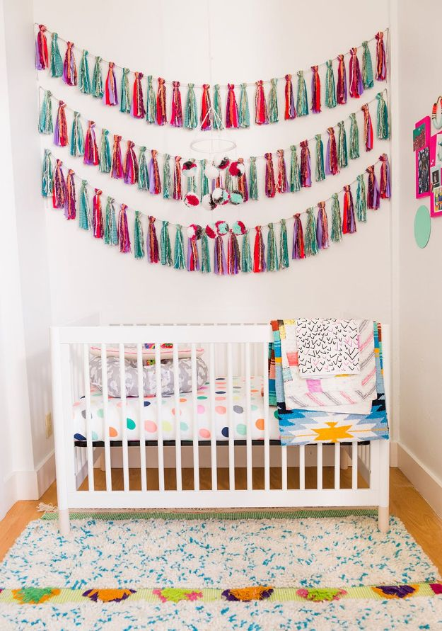 DIY Nursery Decor Ideas for Boys - Mixed Material Tassel Garland - Cute Blue Room Decorations for Baby Boy- Crib Bedding, Changing Table, Organization Idea, Furniture and Easy Wall Art