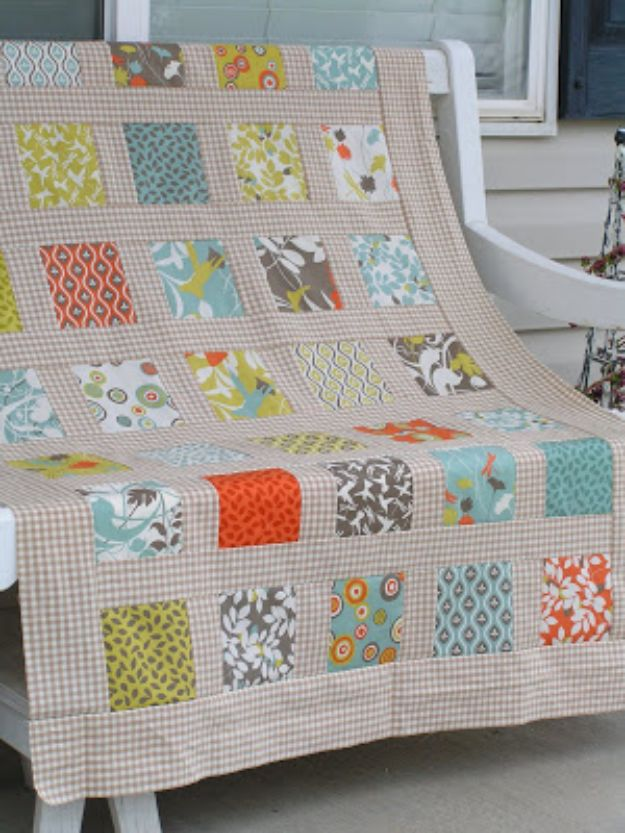 Easy Quilt Ideas for Beginners - Modern Square Garden Quilt - Free Quilt Patterns and Simple Projects With Fat Quarters - How to Make Baby Blankets, Table Runners, Jelly Rolls