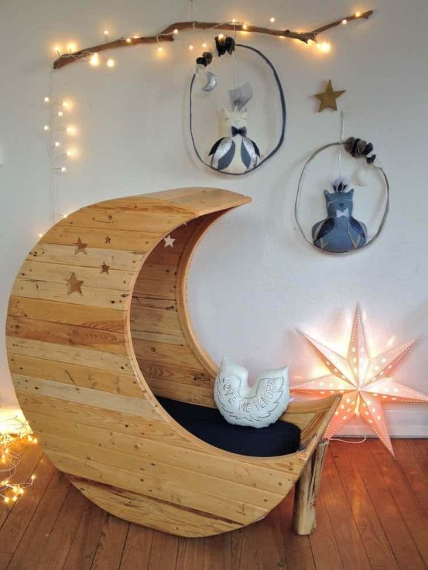 DIY Nursery Decor Ideas for Boys - Moon Cradle Made of Pallets - Cute Blue Room Decorations for Baby Boy- Crib Bedding, Changing Table, Organization Idea, Furniture and Easy Wall Art