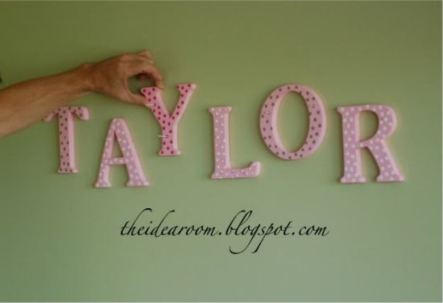 DIY Nursery Decor Ideas for Girls - Name Wall Hanging - Cute Pink Room Decorations for Baby Girl - Crib Bedding, Changing Table, Organization Idea, Furniture and Easy Wall Art