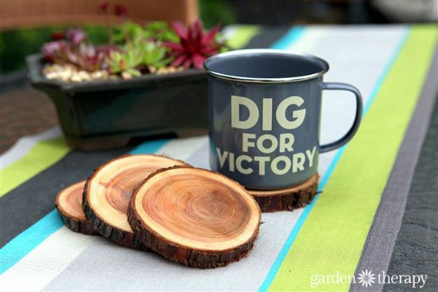 DIY Gifts for Him - Natural Branch Coasters - Homemade Gift Ideas for Guys - DYI Christmas Gift for Dad, Boyfriend, Husband Brother - Easy and Cheap Handmade Presents Birthday https://diyjoy.com/diy-gifts-for-him