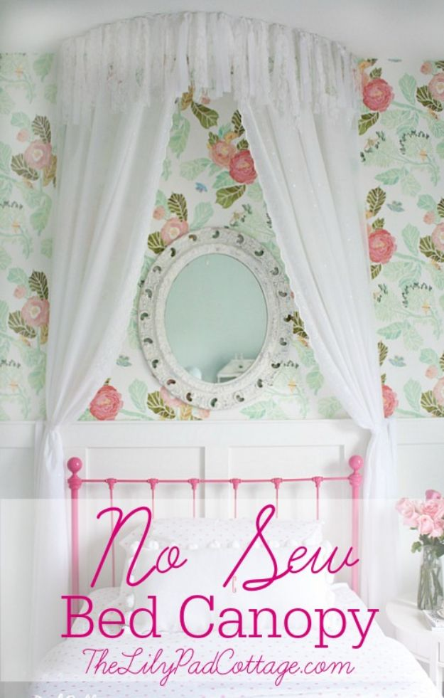 DIY Nursery Decor Ideas for Girls - No Sew Bed Canopy - Cute Pink Room Decorations for Baby Girl - Crib Bedding, Changing Table, Organization Idea, Furniture and Easy Wall Art