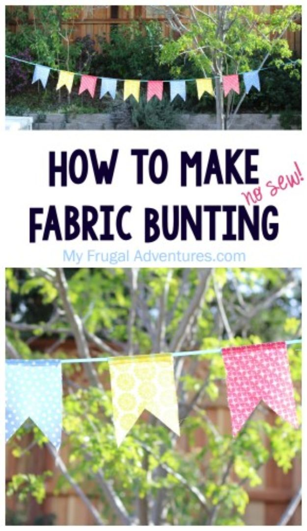 Sewing Projects for Fat Quarters - No-Sew Fabric Bunting - Easy Ideas to Sew With a Fat Quarter - Quick DIY Gifts, Quilt, Placemats, DIY Baby Gift, Project for The Home, Kids, Christmas