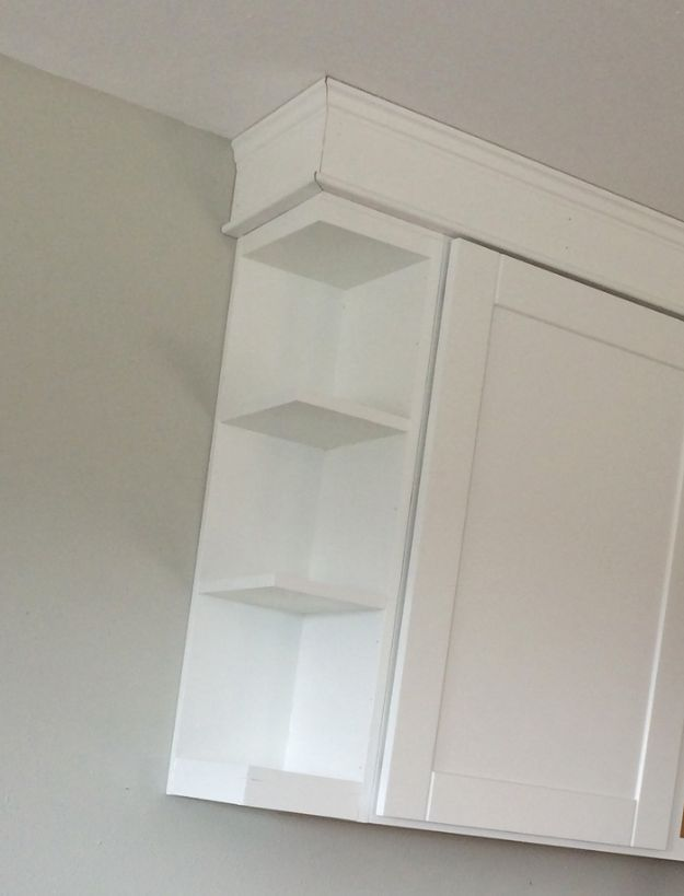 DIY Kitchen Cabinets - Open Shelf End Wall Cabinet - Makeover Ideas for Kitchen Cabinet - Build and Design Kitchen Cabinet Projects on A Budget - Cheap Reface Idea and Tutorial