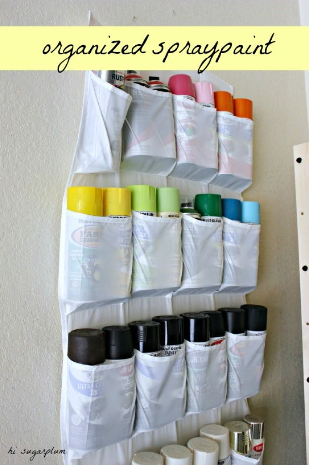 DIY Garage Organization Ideas - Organized Spray Paint - Ideas for Storage, Storing Tools, Small Spaces, DYI Shelves, Organizing Hacks