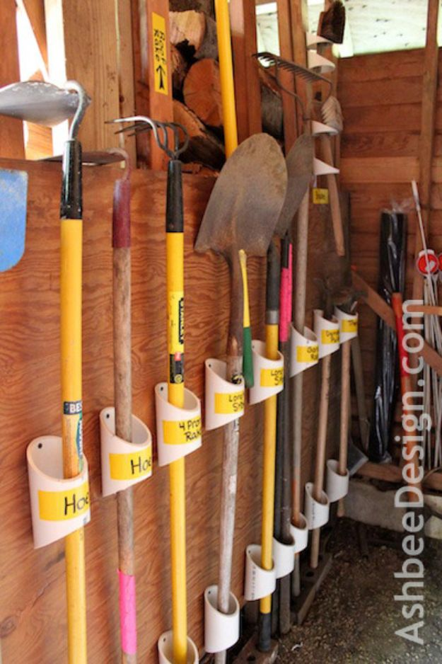 DIY Garage Organization Ideas - Organizing Garden Tools with PVC - Cheap Ways to Organize Garages on A Budget - Ideas for Storage, Storing Tools, Small Spaces, DYI Shelves, Organizing Hacks